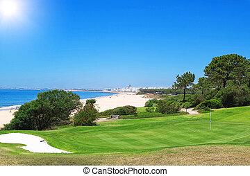A golf course near the beach in Portugal. Summer.