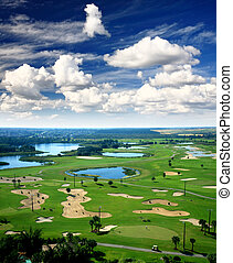 A golf course resort