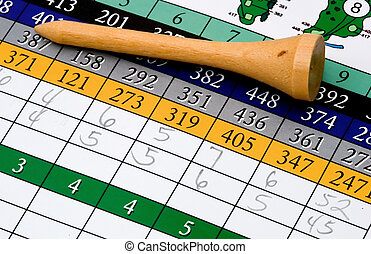 scorecard - a golf scorecard and tee