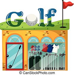 A golf shop on white background