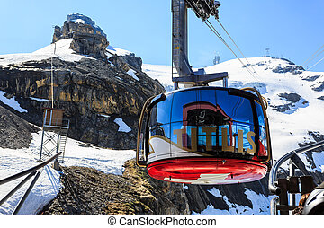 A gondola of the Rotair cable car at Mt. Titlis. - Mt....