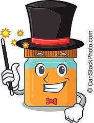 A gorgeous smart Magician of honey jar cartoon design style...