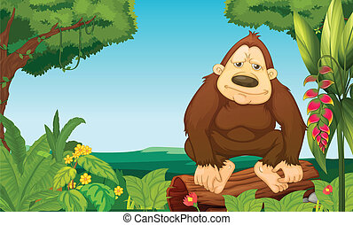 Illustration of a gorilla in the woods