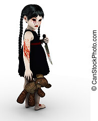 An evil gothic looking, blood covered small girl holding a teddybear and knife. White background.