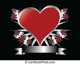 A gothic silver and red floral hearts design with room for text on a black background