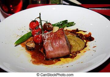 gourmet fillet steak at five star restaurant. - A gourmet...