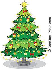 a, grün, weihnachtsbaum, mit, funkeln, lichter