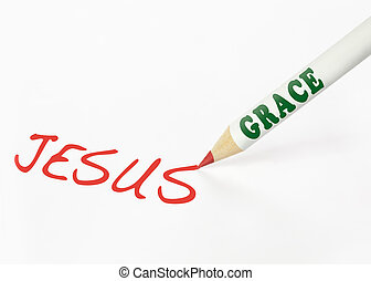A Grace labeled pencil writing the word Jesus