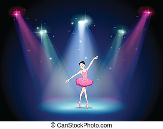 A graceful ballerina at the center of the stage -...