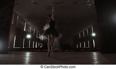 A graceful ballerina dancing ballet elements in the dark with light and smoke on the background, slow motion.