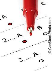 "A-Grade Rating - Red felt pen marking ""A"" grade rating on..."