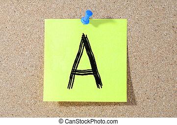 A grade written on a test paper.