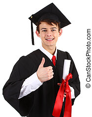 graduate with a scroll
