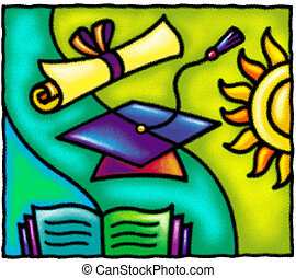 A graduation cap, diploma, book, and sun