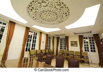 a, grand, acajou, salle conférence, table, à, cuir, chars