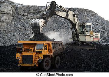 a, grand, jaune, creuser camion