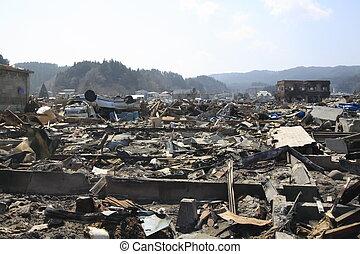 a, grande, leste, japão, terremoto
