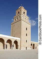 a, grande mesquita, de, kairouan, tunísia, -, unesco, mundo,...