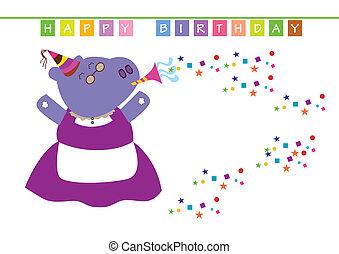 granny hippopotamus - a granny hippopotamus celebrate a...