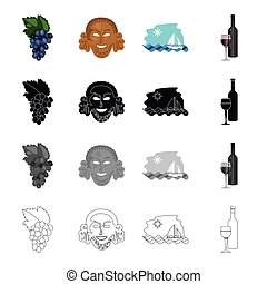 A grape cluster, an antique mask, a Greek sea landscape, a bottle of wine. Greece set collection icons in cartoon black monochrome outline style vector symbol stock illustration web.