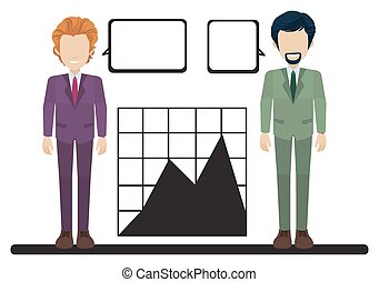 A graph with two businessmen