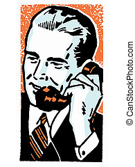A graphic illustration of a businessman talking on the telephone