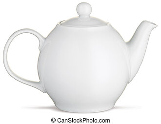 a graphic side view of a white teapot isolated on a white...