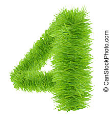 A grass number four isolated on a white background