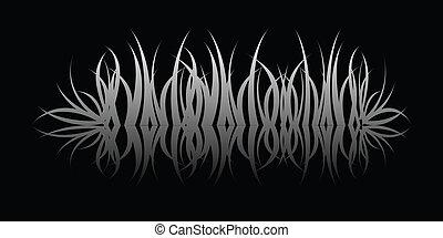 a grass reflection in black over black water