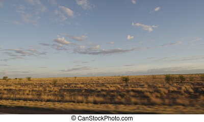 A grassy plain shot - A wide shot of a brownish grassy...