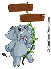 a, graue , elefant, und, der, rebe, pflanze, mit, tafel