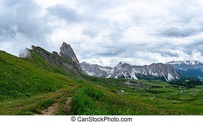 A gravel road in the italian dolomites