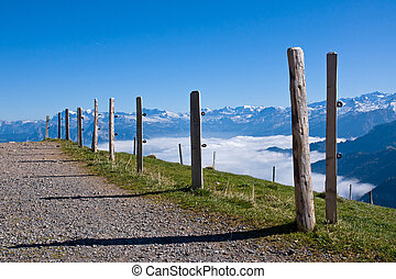 A gravel road up in the alps