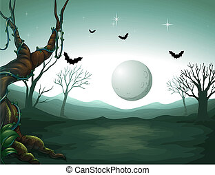 A graveyard and a moon
