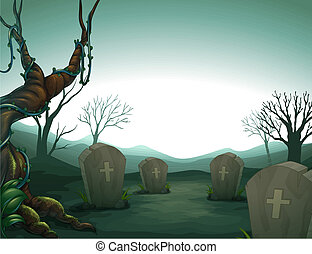 A graveyard - Illustration of a graveyard in the forest