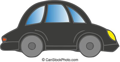 A gray car on a white background. Vector illustration.