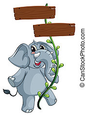 A gray elephant and the vine plant with signboard