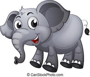 A gray elephant - Illustration of a gray elephant