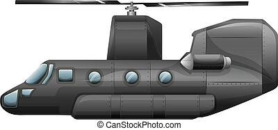 A gray helicopter - Illustration of a gray helicopter on a...