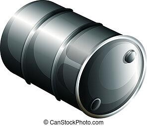 A gray oil barrel