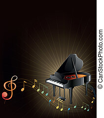 A gray piano with musical notes