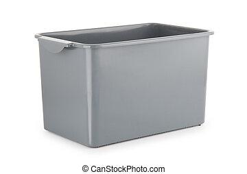 gray plastic box isolated on white background