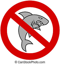 a gray shark with prohibitory sign