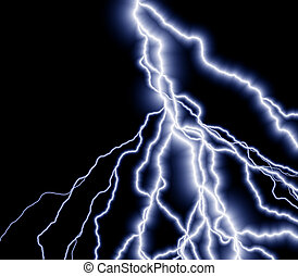 lightning - a great lightning background - many branches of...