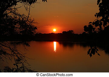 A great sunset with a lake view