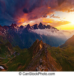A great view of the hills. Location famous Grossglockner High Alpine Road, Austria. Europe.