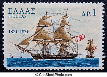 A Greek stamp showing a ship