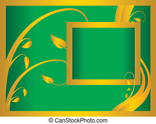 A green and gold floral background