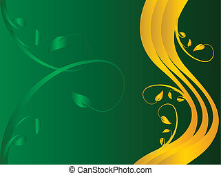 A green and gold formal floral background