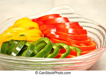 green and red chili pepper bell slice rings